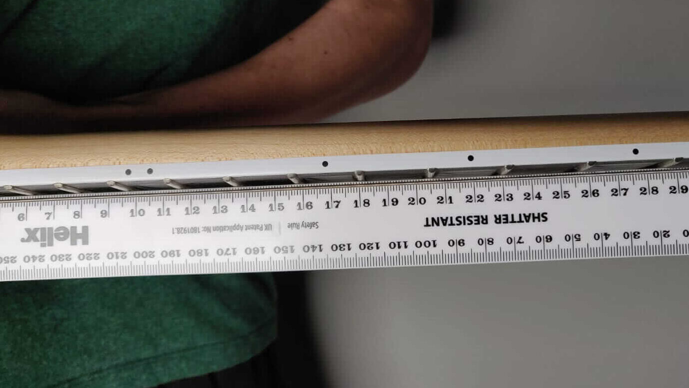 Guitar neck relief test with ruler